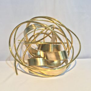 Pusuan Mo- Next Step, Jonathan Dangue, Brass, 10 x 12 x 12 in, 2017