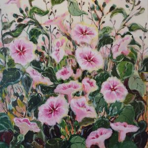 Pink Wild Flowers by Paula Reyes, Acrylic on Canvas, 24 x 18, 2016