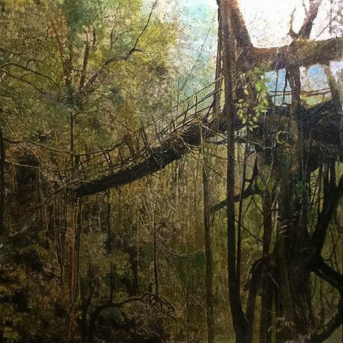 """The Roots Bridge"" by Jim Orencio, Sawdust & Acrylic on Canvas, 48 x 48 inches, 2017"