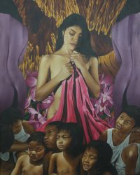 Babae, masdan mo ang iyong mga anak by Alberto Villavert, Oil on Canvas, 40 x 32 inches