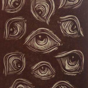 """""""Crippling Anxiety"""" by Patrica Anne Salonga, Woodcut- Relief Print"""