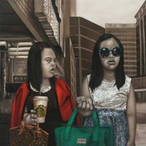 """""""OOTD II"""" by Maribel Magpoc, Oil on Canvas, 24 x 24 inches, 2018"""