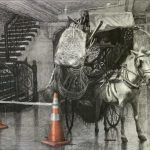 """Jonathan Joven, """"Caution"""", Charcoal & Pastel on Upcycled tracing paper on Canvas, 36 x 48 ft, 2020"""