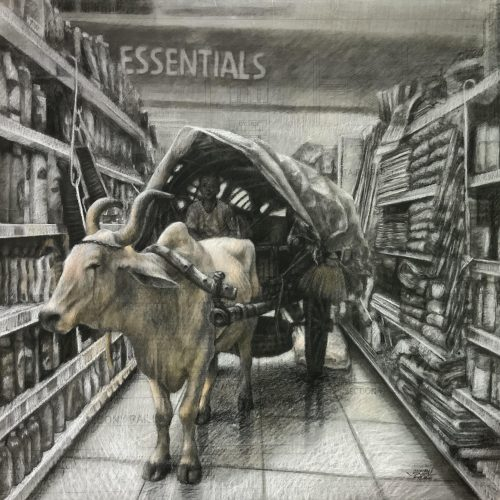 Essentials, Charcoal & Pastel on Upcycled Tracing Paper on Canvas, 3 x 3 ft, 2020