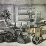 """Jonathan Joven, """"Have a Seat"""", Charcoal & Pastel on Upcycled Tracing Paper on Canvas, 48 x 72 inches, 2020"""
