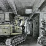 """Jonathan Joven, """"Mine"""", Charcoal & Pastel on Upcycled Tracing Paper, 18 x 28 inches, 2020"""