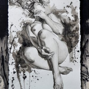 Beauty Inside 1 by Michael Villagante, Watercolor & Charcoal on paper, 30 x 18 inches, 2017