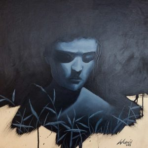 Contemplation by David John Wubneh, Oil on Canvas, 16 x 16 inches, 2018
