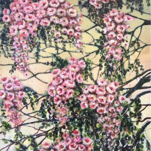 Little Pink Flowers, Lala Reyes, Acrylic on Canvas, 24 x 18 inches, 2016