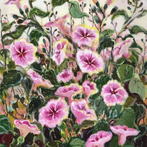 Pink Wild Flowers, Lala Reyes, Acrylic on Canvas, 24 x 18 inches, 2016