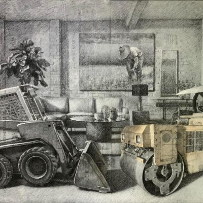 Have a Seat, Charcoal & Pastel on Upcycled Tracing Paper on Canvas, 4 x 6 ft, 2020