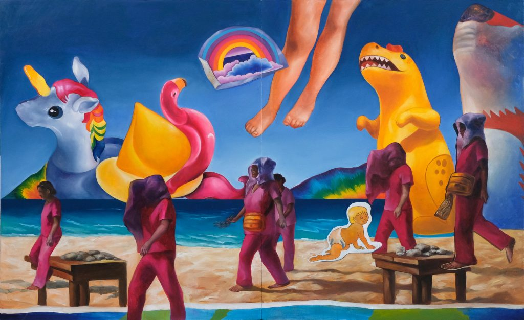 Peak Seaso by Nina Garibay, Oil on Canvas, 50 x 80 inches, 2020