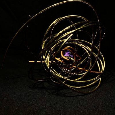 "#10. ""Prosperity"", 11""x15""x10"", violet aura, copper, brass 2020"