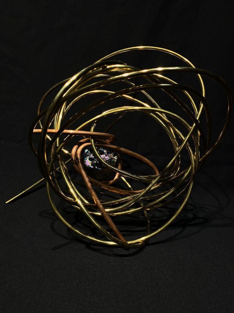 "#19. ""Amplify"" by Jonathan Dangue, 10x14x10 inches, titanium aura, copper, brass 2020"