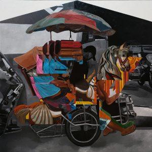 """Clark Manalo, """"Asymmetrical Carousel 1"""", Acrylic on Canvas, 2021"""