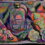 Cerebellum Study (present) 2 of 2, Juno Vizcarra, Mixed Media on Paper, 4.4x6.4 inches, 2021