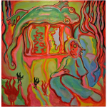 For Some of Us, The Apocalypse has Always Been Here (Cerebellum), Juno Vizcarra, Acrylic on Canvas, 36x48 inches, 2021